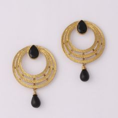 Black Stone Drop Earring By Variation