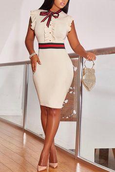 Trend Fashion, Look Fashion, Womens Fashion, Ladies Fashion, High Fashion, Sheath Dress, Bodycon Dress, Cute Dresses, Dresses With Sleeves