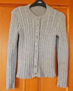 Tiny Cables cardigan knitted in Rowan Superfine Merino 4 Ply in Marble