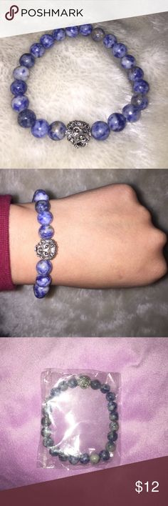 Cloudy sky blue with lion head charm Hard stone cloudy sky blue beads with silver lion head charm placed on elastic string. All handmade. All brand new. Still wrapped. For male and female. All one size fits all. Any ideas or requests on jewelry let me know 😛 Jewelry Bracelets