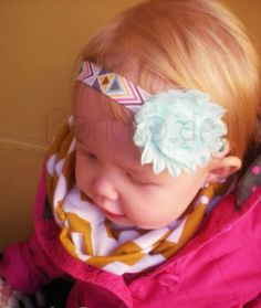 Poncho.Dean-Aztec Headband in grey aztec with aqua flower size 0-3 month