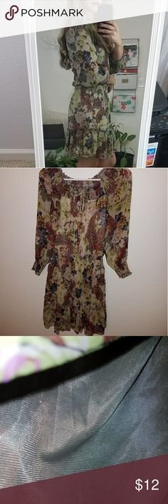 Xhilaration Brown Floral Dress This is a beautiful above the knee brown dress. I like wearing it with sandals or with cowboys boots. Xhilaration Dresses