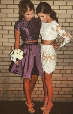 two piece homecoming dresses,homecoming dresses with sleeves,lace homecoming dresses