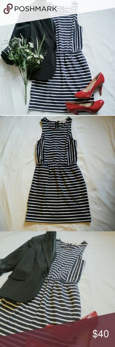 Ann Taylor LOFT Striped Dress Beautiful dark navy blue and white dress. Has two pockets. Great condition! You can dress it up with hot heels for a sexy work look or with wedges/sandals for a nice evening out. Ann Taylor Dresses