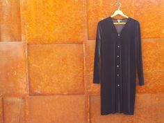 vintage 1990's dkny dress // black velvet dress // size medium large // women's dress //LBD by NVCollective on Etsy
