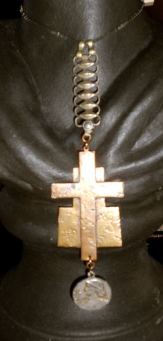 Large Brass Cross with French Coin and Pewter Toned by anniefraley, $42.00