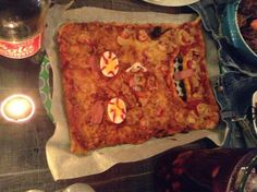 Homemade hallowen pizza