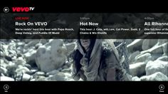Vevo // With the VEVO app you can watch music videos, stream live concerts, and discover new artists on your Windows 8 device for free! Access VEVO's entire catalog of 75,000 music videos from more than 21,000 artists.