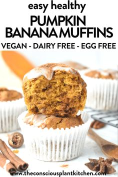 Super moist pumpkin banana muffins easy to make in less than 30 minutes for a delicious fall breakfast. Bonus, these are vegan pumpkin muffins too made without eggs or dairy.