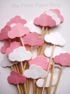 24 Baby Girl Pink & White Cloud Party Picks by ThePrettyPaperShop Blue Party Decorations, Girl Birthday Decorations, 1st Boy Birthday, Diy Birthday, Cloud Party, Baby Food Jar Crafts, Cloud Decoration, Bar A Bonbon, Expecting Mom Gifts