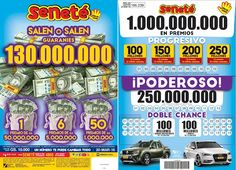 Este domingo la suerte te puede tocar a vos...  SALEN O SALEN por N° de cartón:  1 premio de Gs. 50.000.000  6 premios de Gs. 5.000.000  50 premios de Gs. 1.000.000  En el #Progresivo tenemos Gs. 150.000.000 y cantamos una bolilla más.  En los pozos comenzamos todo de nuevo... En el #Poderoso Gs. 250.000.000 y en la #DobleChance Gs. 100.000.000 + otra pickup Renault Oroch y un espectacular Audi A3   No te quedes sin tu cartón ¡Pedí #Seneté!
