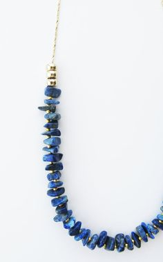 Lapis Lazuli Necklace Gold Beaded Chain Necklace by TheTwoJays