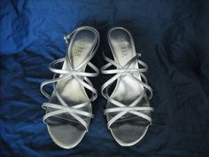 Ralph Lauren Neve Silver Metallic Strappy Dress Sandal Heels Sz 8B #LaurenRalphLauren #Strappy #Formal