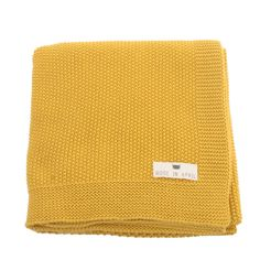 Molly Meg  – knitted cotton Blanket, Moss stitch Ceylon Yellow