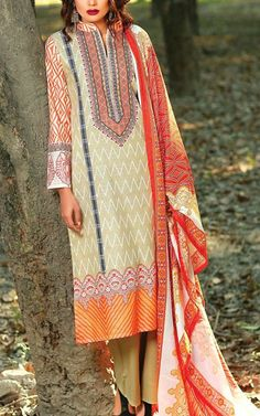 End of the year sale! Buy Beige Printed Khaddar Salwar Kameez by Lala Prints Collection 2015 for only $49.99. Limited time offer with stitching service and worldwide delivery.