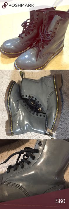 ✨GRAY DOC MARTENS Authentic, gently used gray patent lamper Dr. Martens. Slight normal wear but really not noticeable while they're on. Already broken in so you won't get blisters!!! Super versatile and waterproof! Questions and offers encouraged! Dr. Martens Shoes Combat & Moto Boots