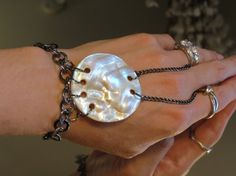 Slave Bracelet Ring Mother of Pearl and by TheMysticalOasisGlow, $25.00