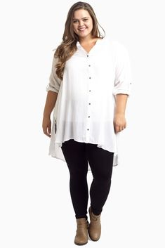 You'll fall in love with this button up plus size maternity top as soon as you put it on this season. Perfect for styling with your favorite maternity jean or legging and booties for the cooler months ahead.