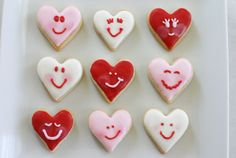 Make for lunches on V-Day! Fancy Cookies, Heart Cookies, Cake Cookies, Cupcake Cakes, Cupcakes, Valentines Day Cookies, Valentine Treats, Love Valentines, Sweet Hearts