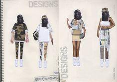 Fashion Sketchbook - fashion collage illustrations for urban street wear; fashion portfolio // Alexandra Thomas