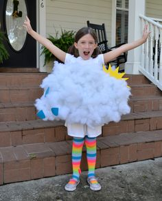 This is one rain cloud you want on Halloween! This kid's costume is easily made with a cardboard box and polyfill stuffing.