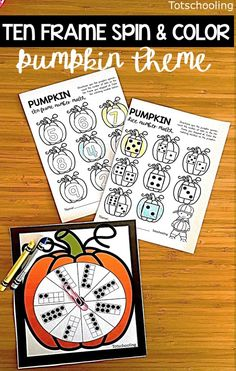 FREE printable Pumpkin spin game perfect for a Fall preschool math center. Features ten frames and works on counting and number recognition.