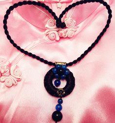 Blue Flower Circle Pendant Traditional Asian by TrendyOriental