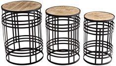 Banded About Rustic Farmhouse Bronze Tables 3 Piece Set Marble Top End Tables, Oak End Tables, End Table Sets, End Tables With Storage, Wood Table, A Table, Table Sizes, Wood Surface, Nesting Tables