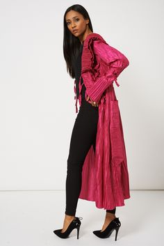 KAAT CRINKLE EFFECT LIGHTWEIGHT FUCHSIA PINK JACKET AVAILABLE IN PLUS SIZES