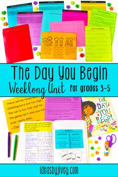 The Day You Begin Mentor Text Unit for Grades 3-5