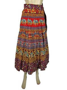 "Boho Wrap Skirt, Multi Color Cotton Elephant Sarang Print Skirts 34"" Length mogulinterior,http://www.amazon.com/dp/B00DI3QE06/ref=cm_sw_r_pi_dp_KMrXrbDCD5D84C8E"