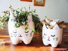 Hermosa maceta en forma de gatito - Manualidades para el Hogar ~ Un Mundo de Manualidades