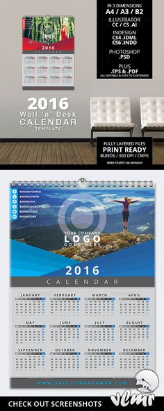 Wall Calendar 2016 Calendars 2016, Template and Walls - calendar flyer template