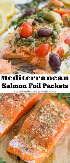 Mediterranean Salmon Foil Packets with capers, olives, oregano, garlic and tomatoes are incredibly flavorful, flaky and tender and ready in just 20 minutes. #salmon #salmonrecipes #healthyrecipes #fishrecipes #mediterranean
