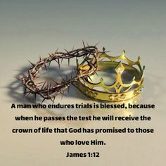 A man who endures trials is blessed, because when he passes the test he will receive the crown of life that God has promised to those who love Him. Passed The Test, Bible Mapping, Mary And Jesus, Trials And Tribulations, Faith Over Fear, Second Chances, Jesus Pictures, God Loves You