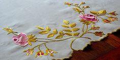 Em's Heart Antique Linens -Antique Society Silk Embroidered Runner