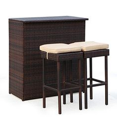 All Weather Patio Bar Set With Hand Woven Resin Wicker Creates A Perfect  Rustic Look To Your Backyard. The Bar Table Has A Wicker Flat Top Which Is  ...