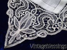 Delicate Antique Tenerife Lace Bridal Handkerchief Wedding Heirloom c1900