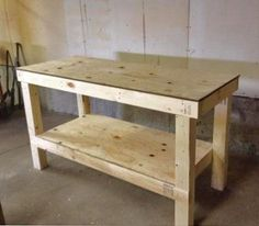 This workbench plan is a modification of this plan updated to a larger size while still using similar amount of materials, also increased in height to standard countertop height, and left open on the