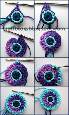 Multi-Coloured Crochet Circle master class ♥ by Olga. Crochet Motifs, Crochet Circles, Crochet Blocks, Freeform Crochet, Crochet Granny, Diy Crochet, Crochet Crafts, Yarn Crafts, Crochet Stitches