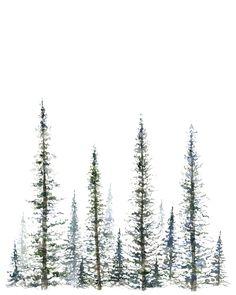 Pine Tree Print - tree art - tree painting - greenery - christmas tree - mountains - forest - tree watercolor - fir tree - fir - pine tree by FoxHollowDesignCo on Etsy Pine Tree Painting, Pine Tree Art, Pine Trees Forest, Pine Tree Tattoo, Fir Tree, Watercolor Trees, Watercolor Paintings, Watercolor Tattoo, Watercolour