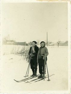 vintage photo skiing pals photography paper by dawnandross on etsy 350