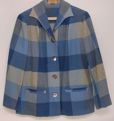 Pendleton Jacket - I know it is a few years past the start of the Vi Cass story, but I REALLY like this one! Denim Button Up, Button Up Shirts, Pendleton Jacket, Fashion Art, 1940s, Sewing Projects, Jackets For Women, Ralph Lauren, Plaid