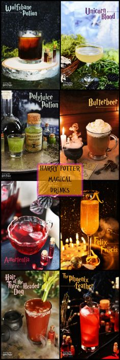 8 Magical Harry Potter Drink Recipes from Buzzfeed.All the recipes are in 1 place, so it's not your typical Buzzfeed roundup. These are alcoholic cocktails, although a few can be made virgin.Wolfsbane PotionUnicorn BloodPolyjuice PotionButterbeerAmortentiaFelix FelicisHair of the Three-Headed DogThe Phoenix Feather