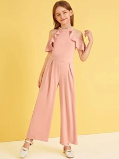 To find out about the Girls Pearl Beaded Cold Shoulder Ruffle Trim Pleated Jumpsuit at SHEIN, part of our latest Girls Jumpsuits ready to shop online today! Dresses Kids Girl, Cute Girl Outfits, Kids Outfits Girls, Cute Dresses, Girls Fashion Clothes, Tween Fashion, Girl Fashion, Fashion Dresses, Pleated Jumpsuit