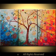 ORIGINAL Modern The Lollipop Tree Large Abstract Fine Art Impasto texture Palette knife oil 45x30 Painting by IraSher. $285.00, via Etsy.