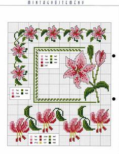 fiori gigli rosa - magiedifilo.it punto croce uncinetto schemi gratis hobby creativi