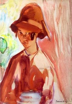 """bofransson: """"Frances Hodgkins - Girl with a Cloche Hat """" Pretty Drawings, New Zealand, Neo, Artists, Watercolor, Landscape, Painters, Artwork, Portraits"""