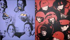 60s crisco kids and g i joes, 2 hand painted silkscreen/paintings by walt yablonsky