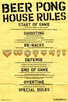 Beer Pong House Rules.   Click to buy this Beer Pong Poster!